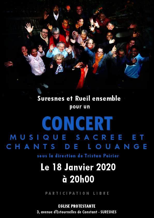affiche concert Eglise Protestante de Suresnes. 18 janvier 2020